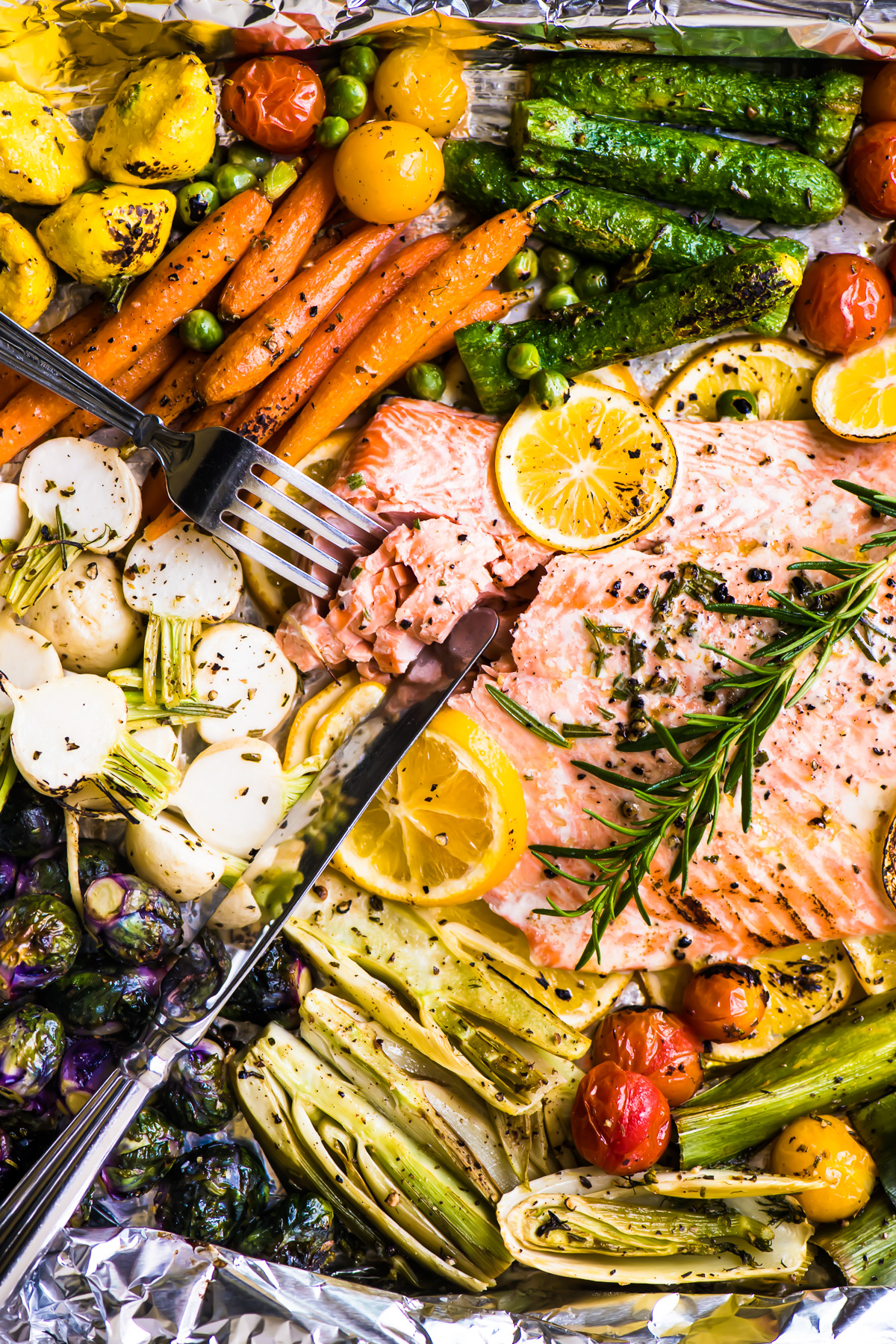Salmon and spring veggies on a sheet pan