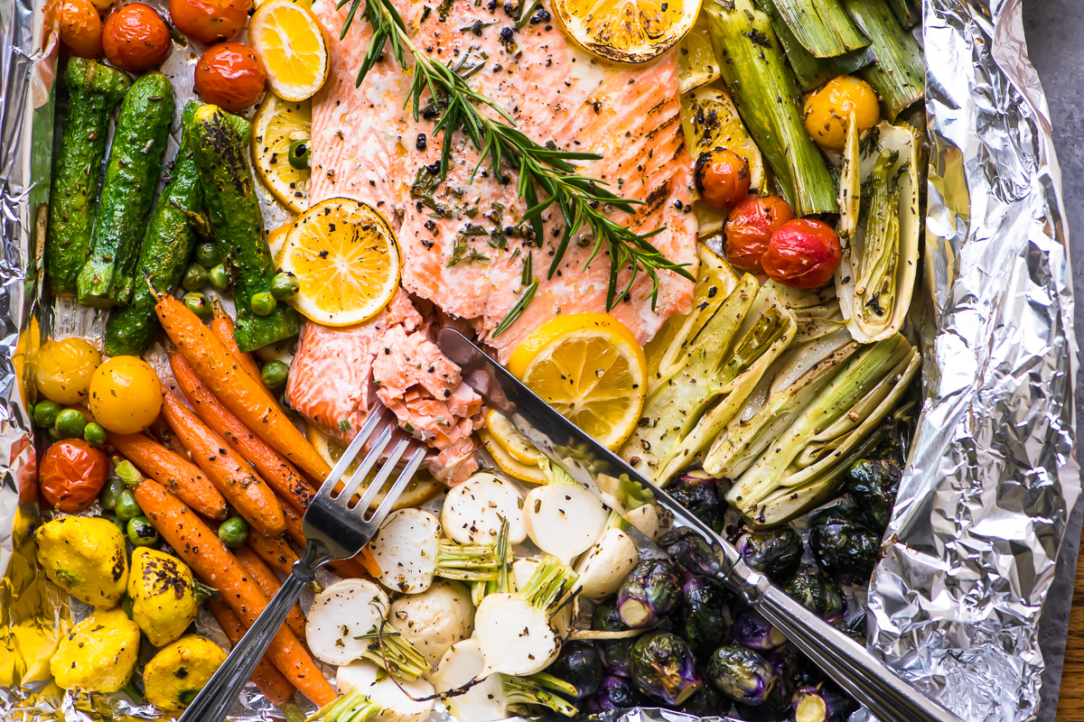 Sheet Pan Salmon Primavera