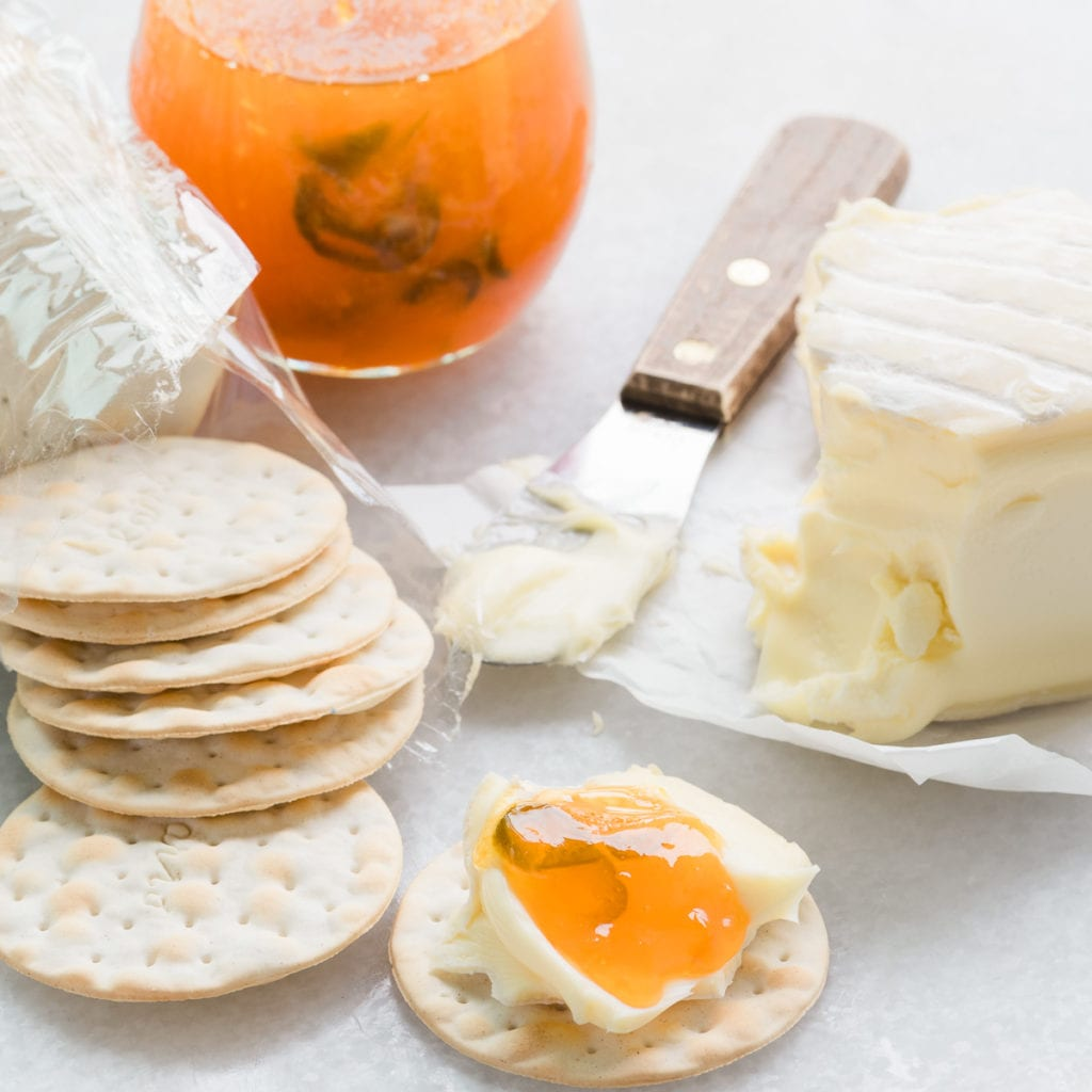 Apricot Jalapeño Jam with soft cheese and water crackers