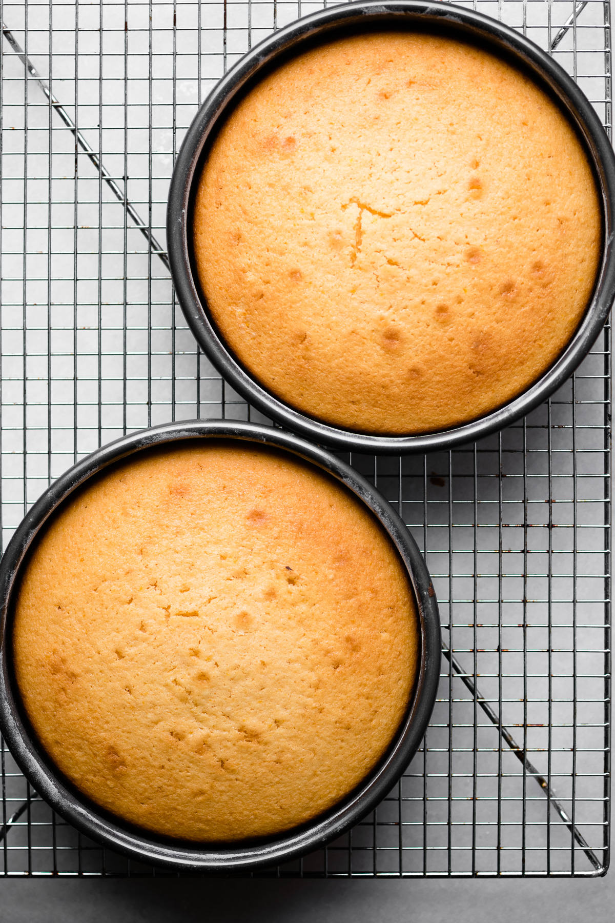 Cooling cake layers for a Creamsicle Cake