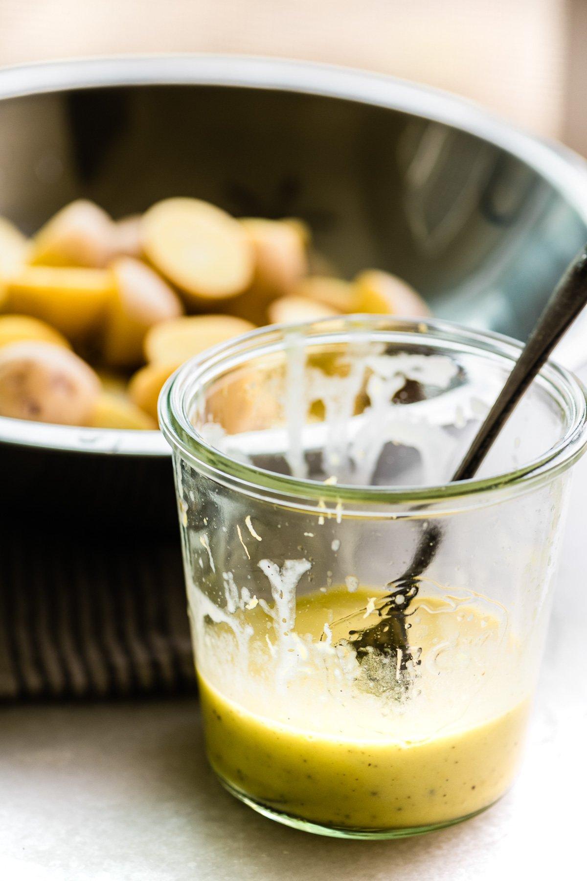 Lemon dressing for Greek lemon potato salad