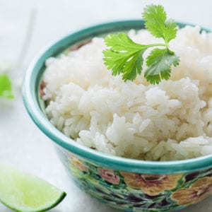 coconut rice in a small floral bowl