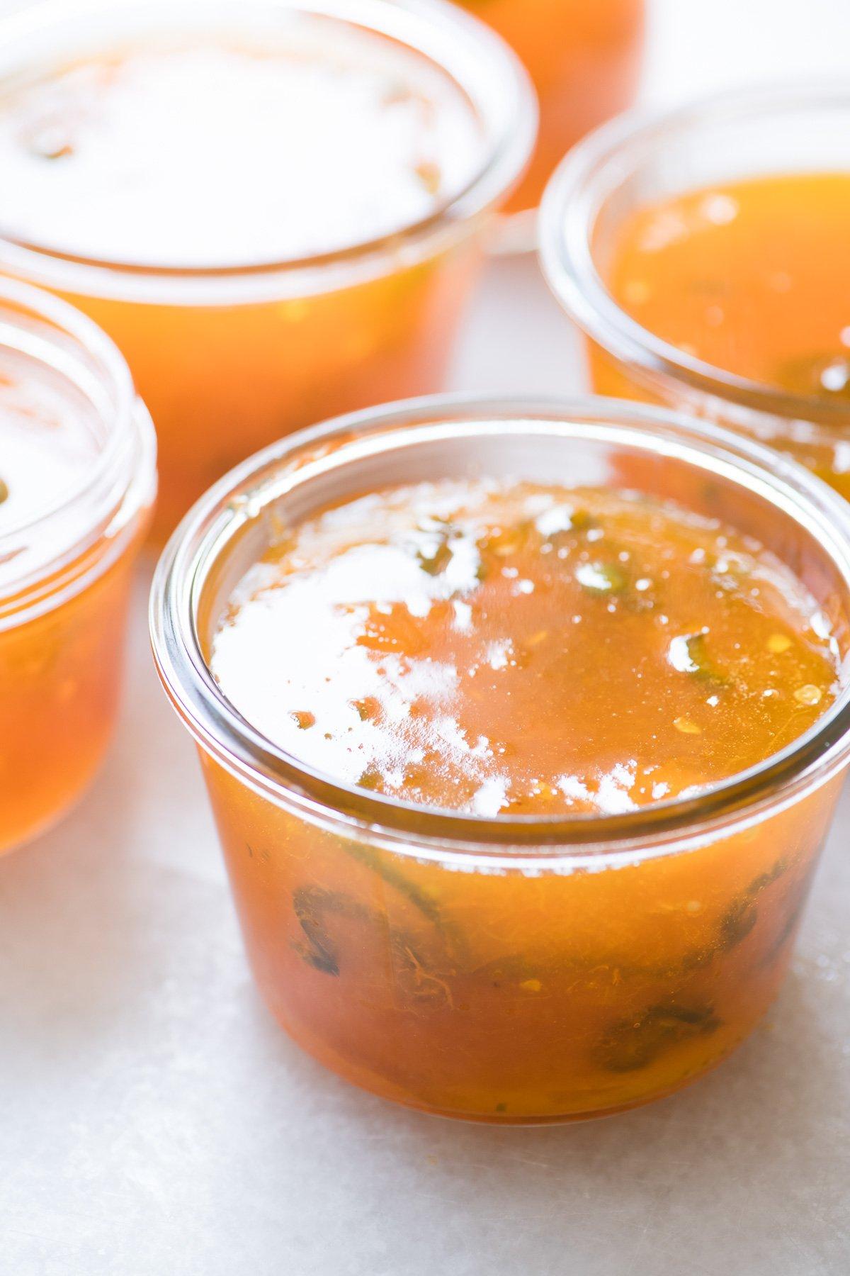 Apricot Jalapeño Jam in canning jars