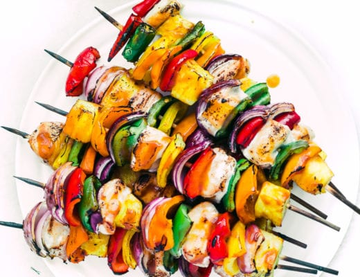 Sweet Fire Chicken Skewers fanned out on a plate