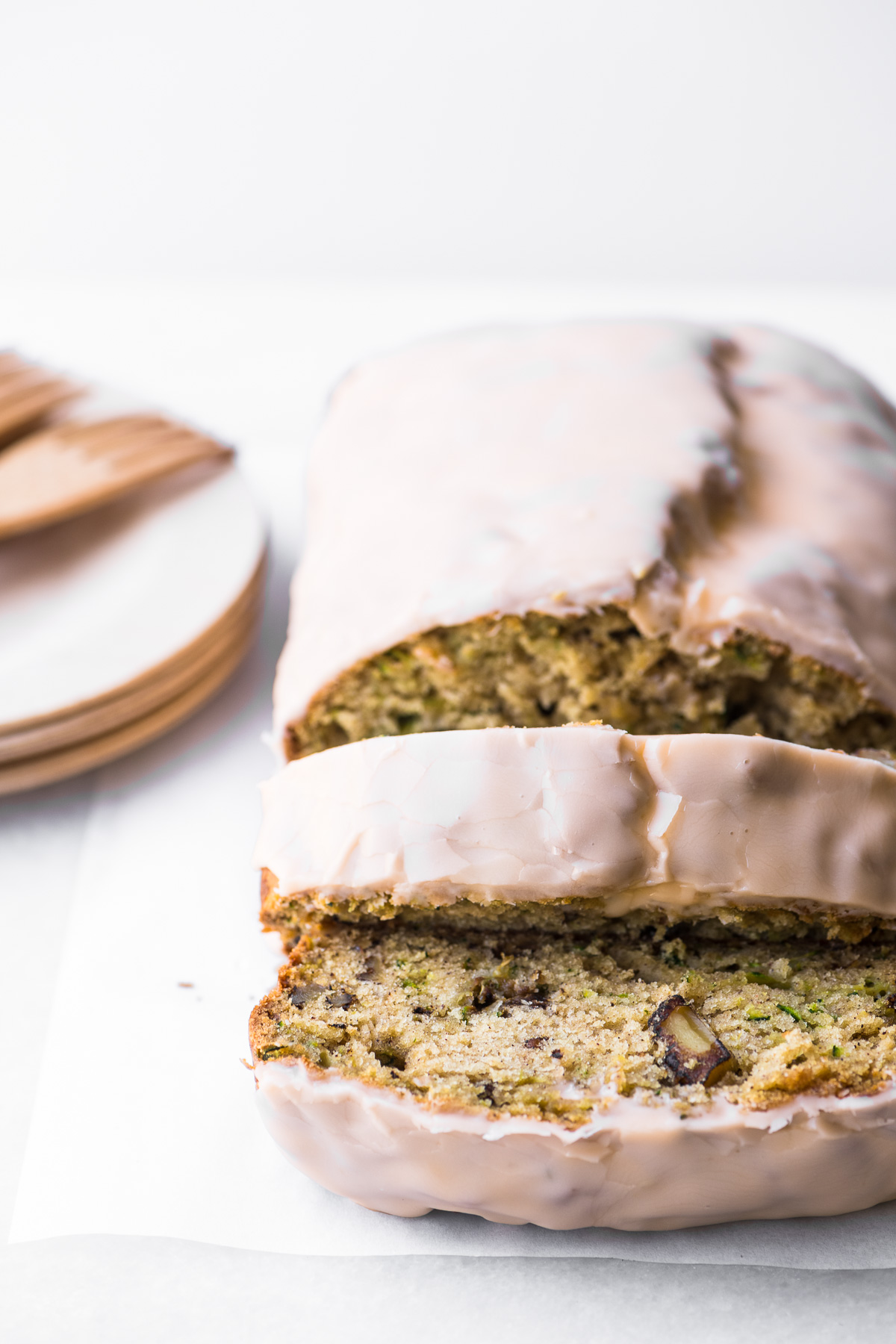 Orange glazed zucchini bread, sliced