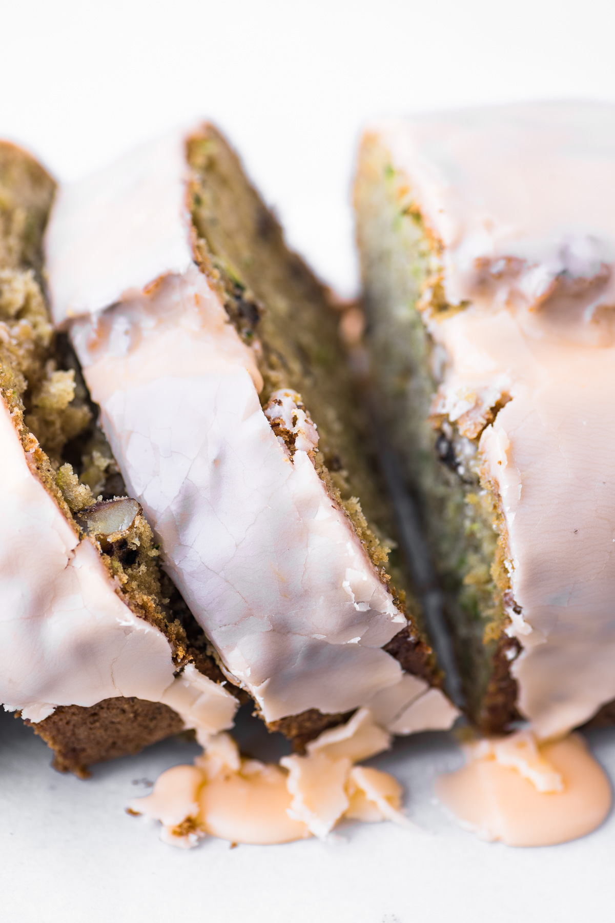 orange glazed zucchini bread, sliced and up close