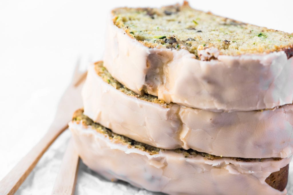 slices of orange glazed zucchini bread, stacked