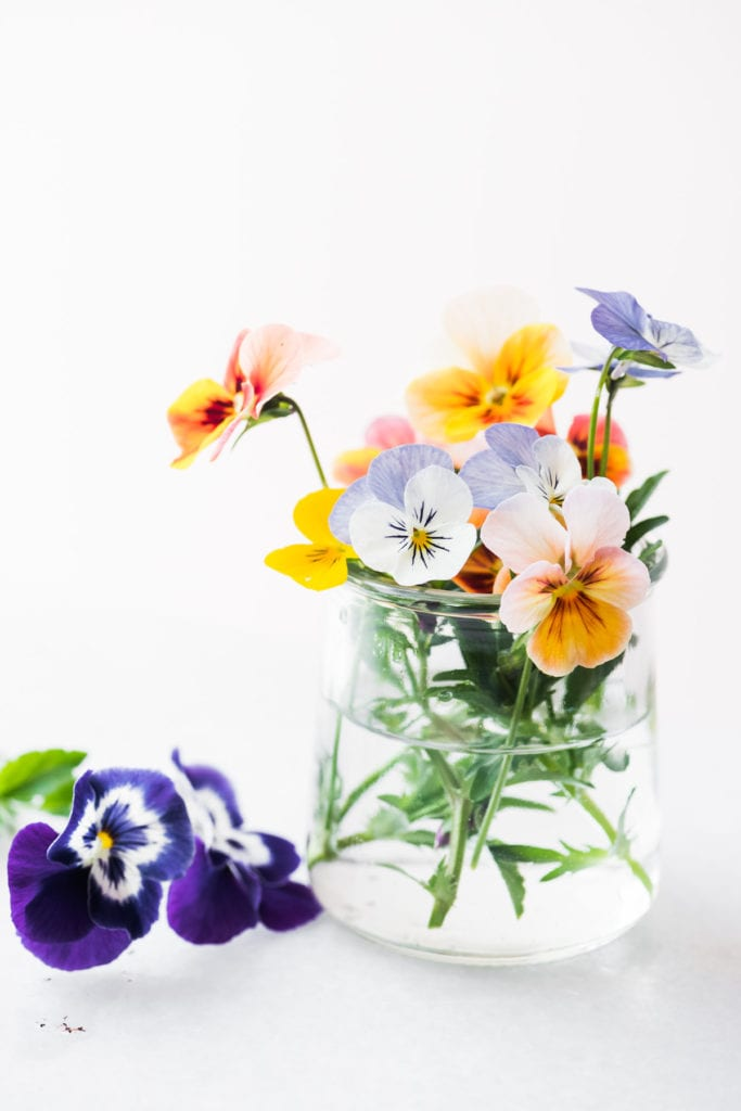 pansies in a small jar