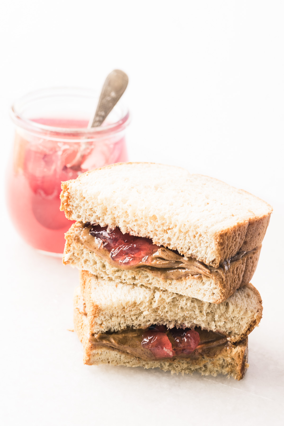 almond butter rhubarb jelly sandwich