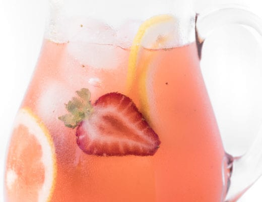 Strawberry lemonade in a pitcher
