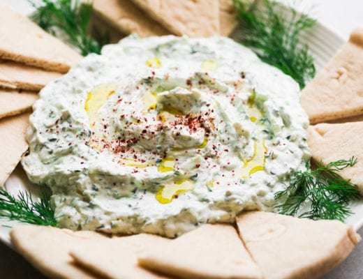 Greek tzatziki dip with pita bread triangles