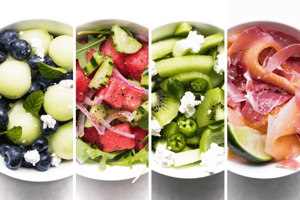 four different melon salads