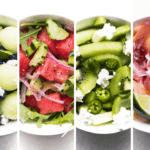 four different melon salads