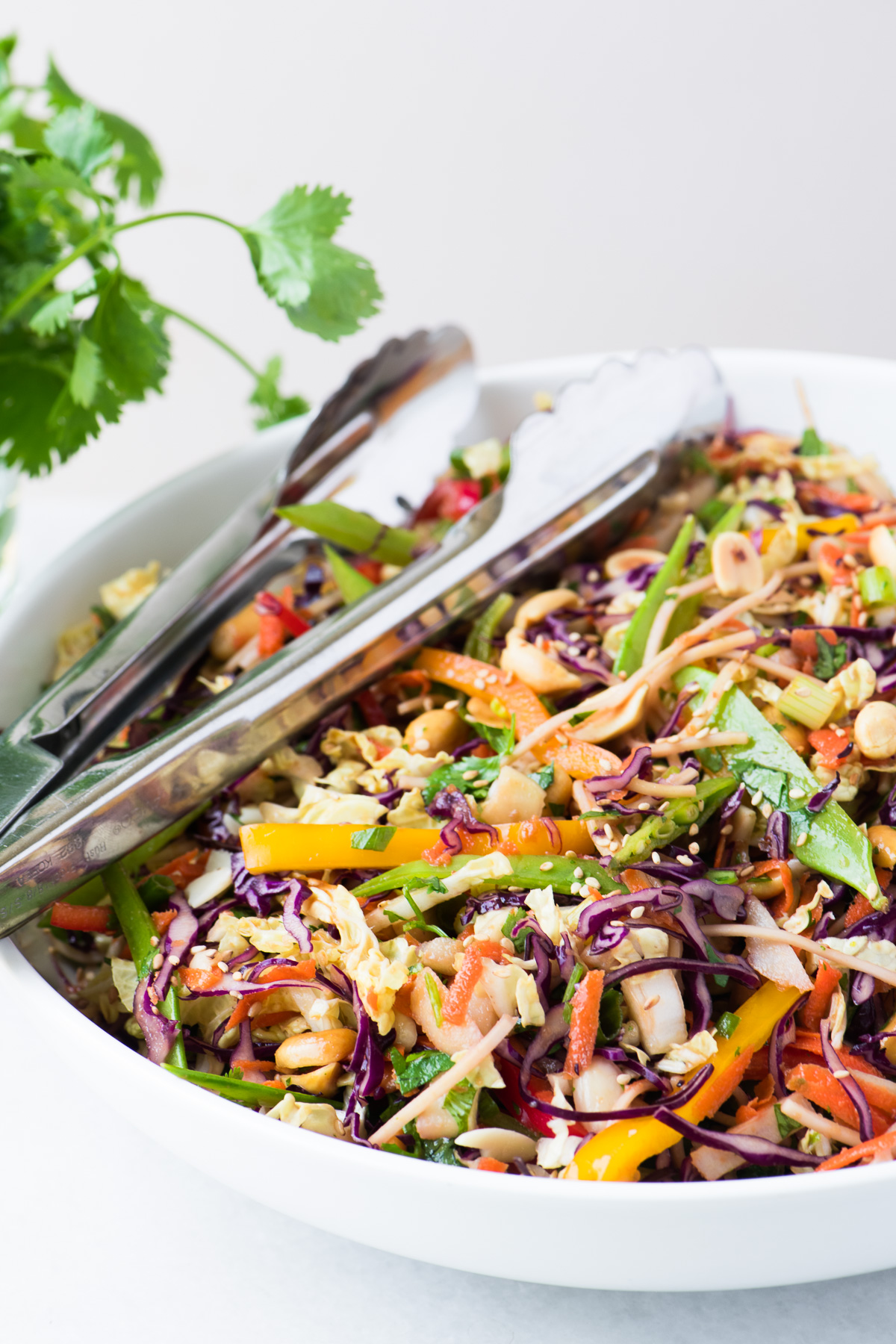Colorful Asian Slaw in a white bowl