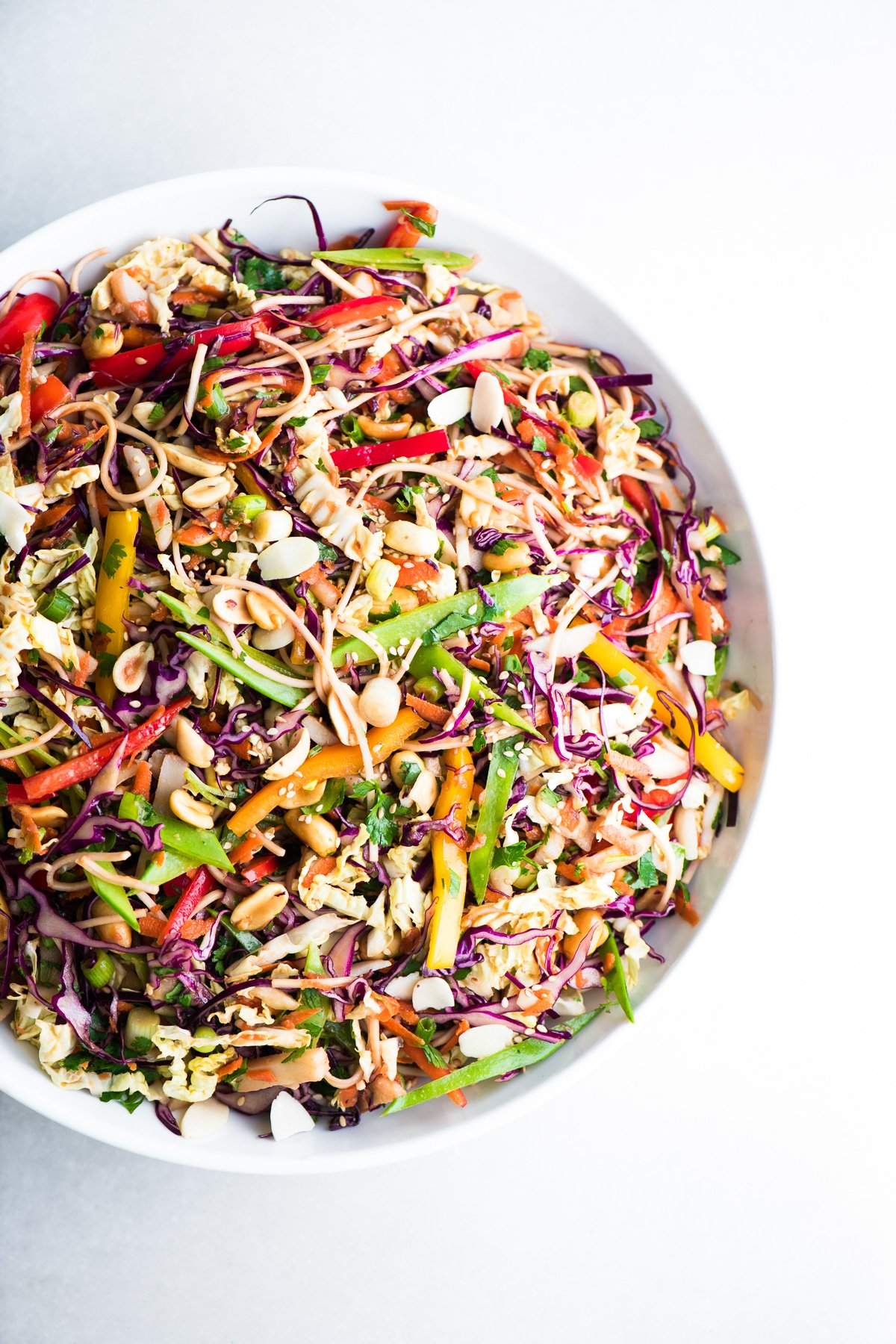 A large bowl of Asian Slaw Salad