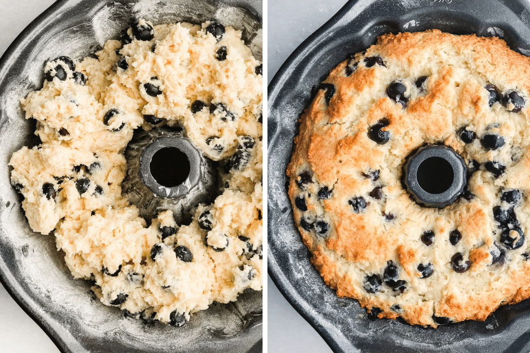 Baking a blueberry muffin bundt cake in a bundt pan