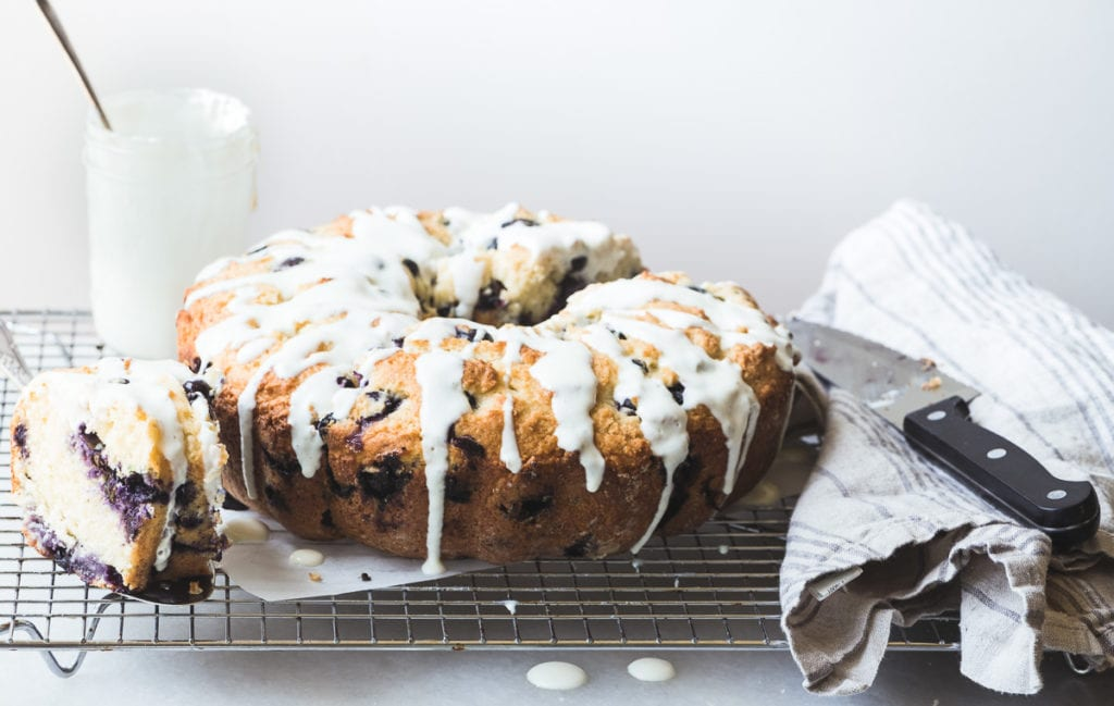 Making a blueberry muffin bundt cake with yogurt drizzle