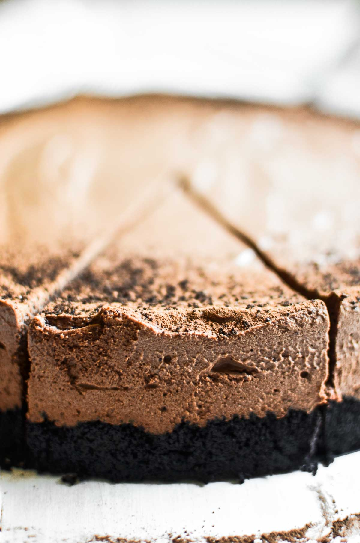 Almost no bake chocolate mousse pie with dark chocolate crumb crust
