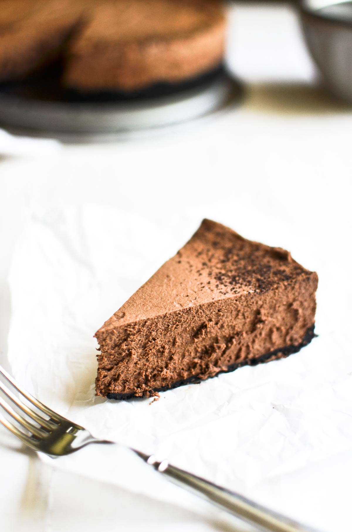 a slice of almost no bake chocolate mousse pie