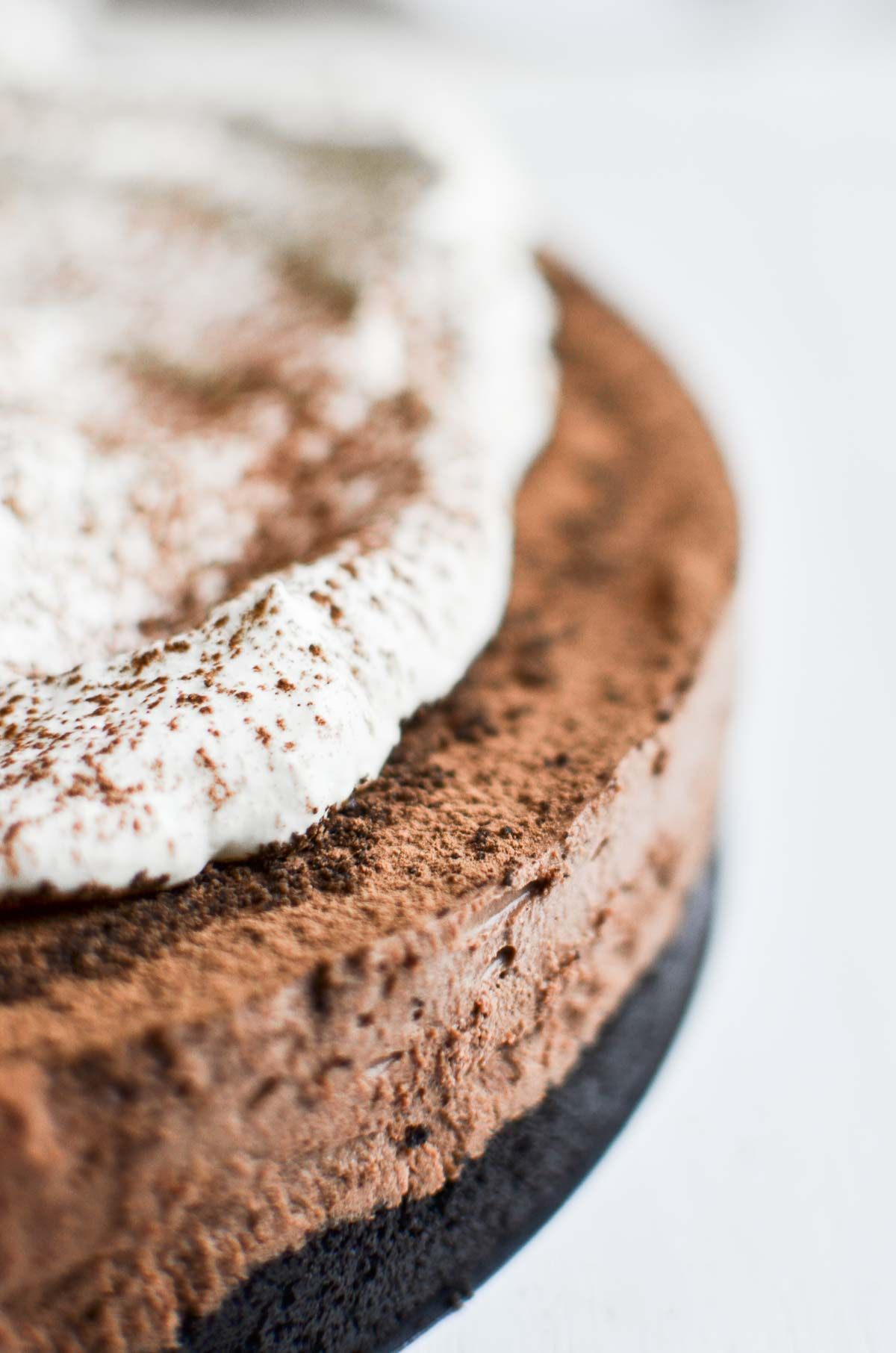 Almost no bake chocolate mousse pie with whipped cream