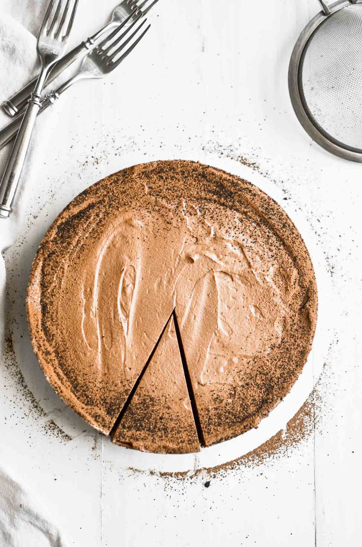 Overhead picture of chocolate mousse pie.
