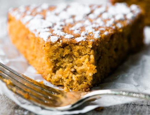piece of flourless pumpkin bread with fork