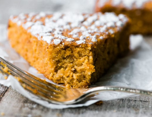 piece of flourless pumpkin bread with fork