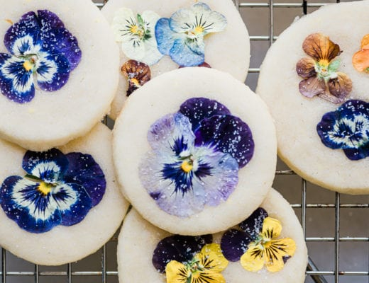 colorful pansy shortbread cookies