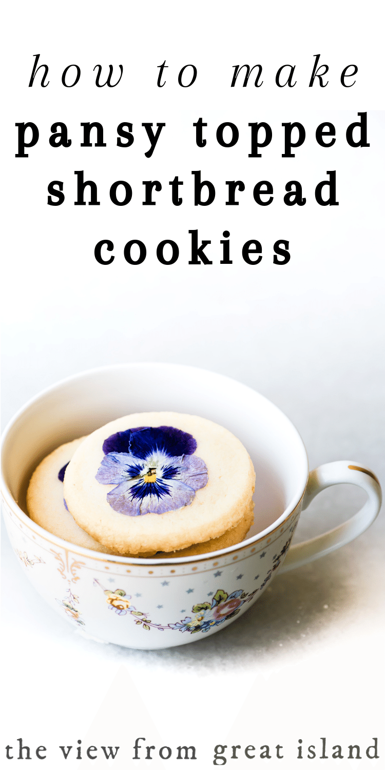 Pansy topped shortbread cookie pin