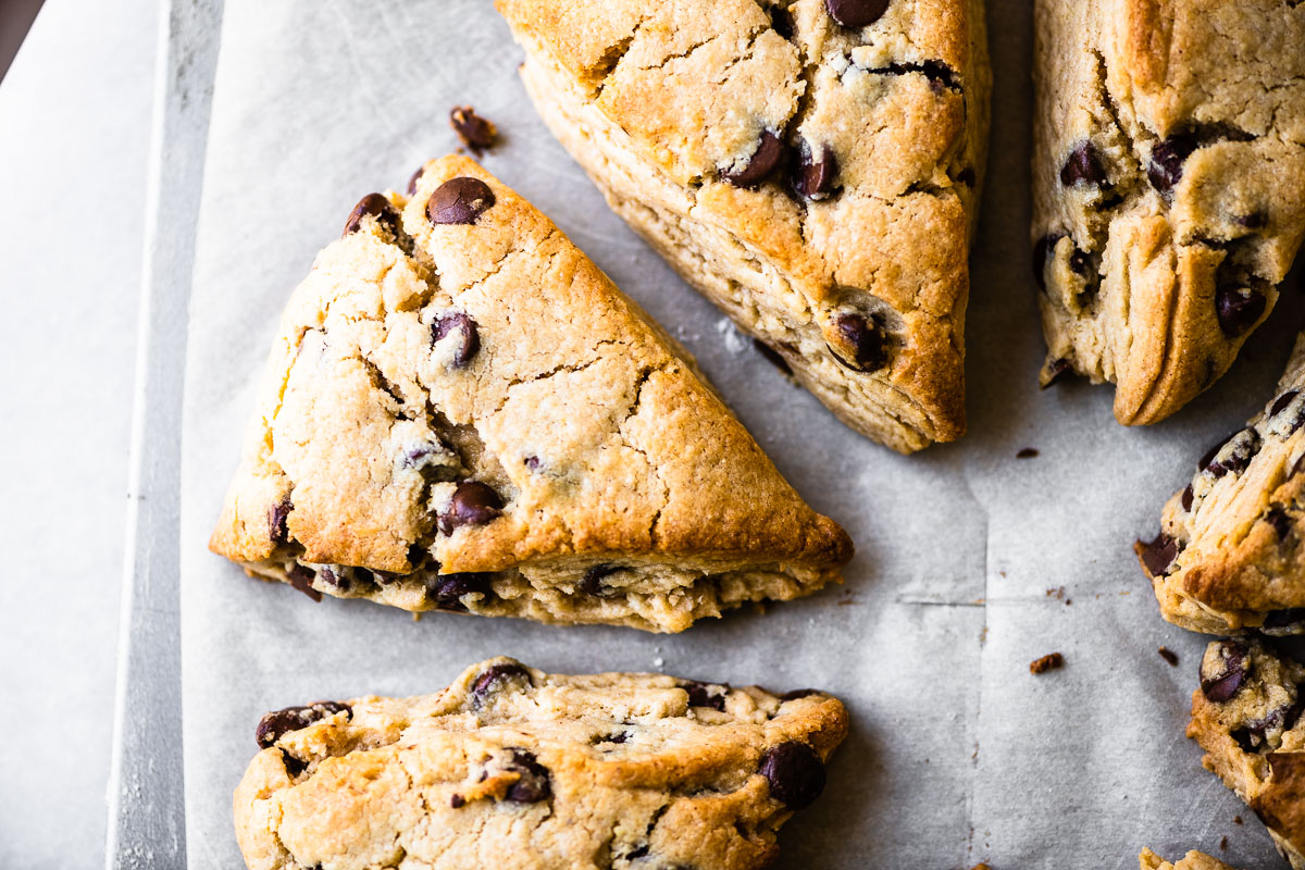 peanut butter chocolate chip scones on a baking sheet