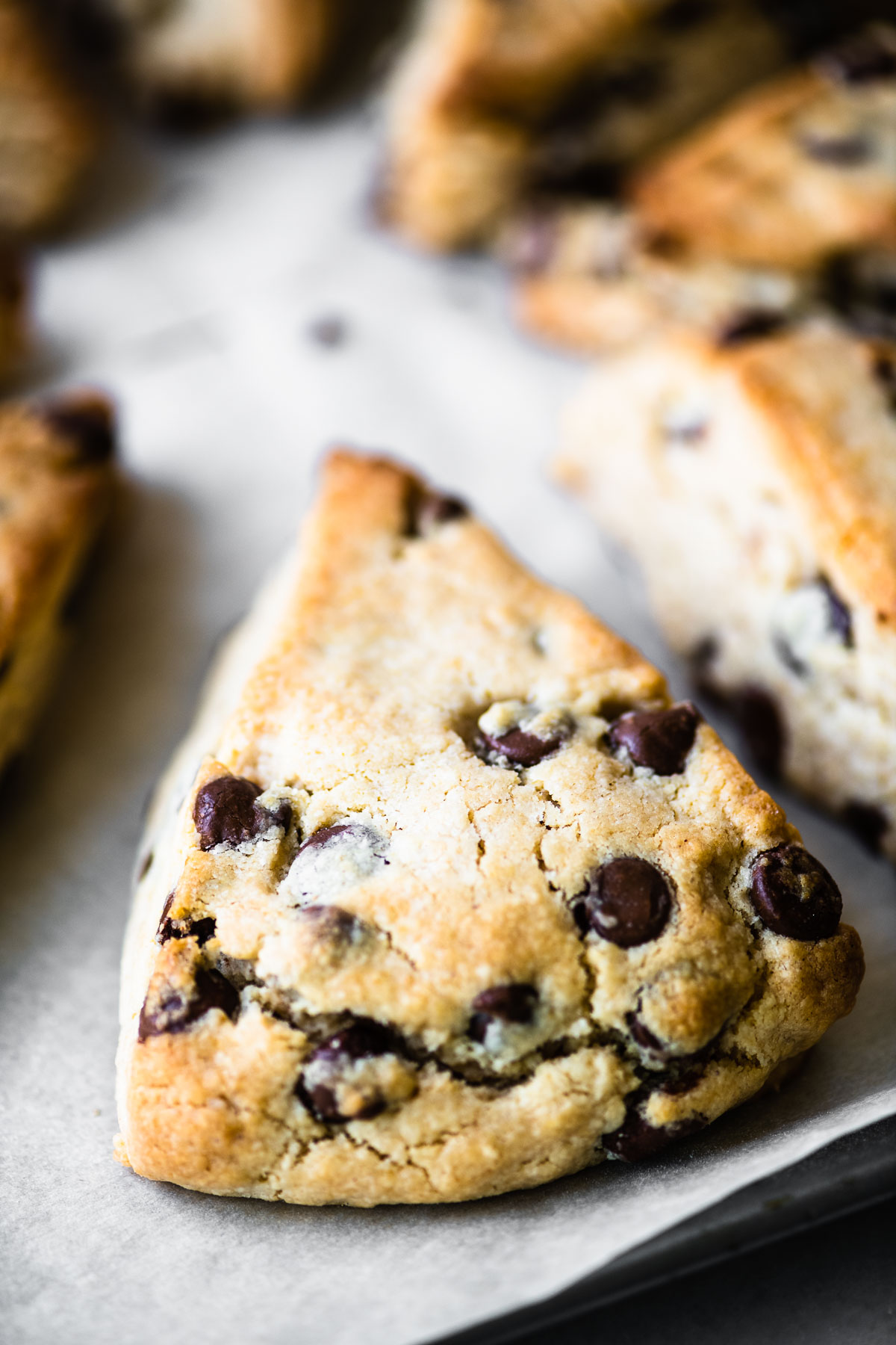 a peanut butter chocolate chip scone on parchment