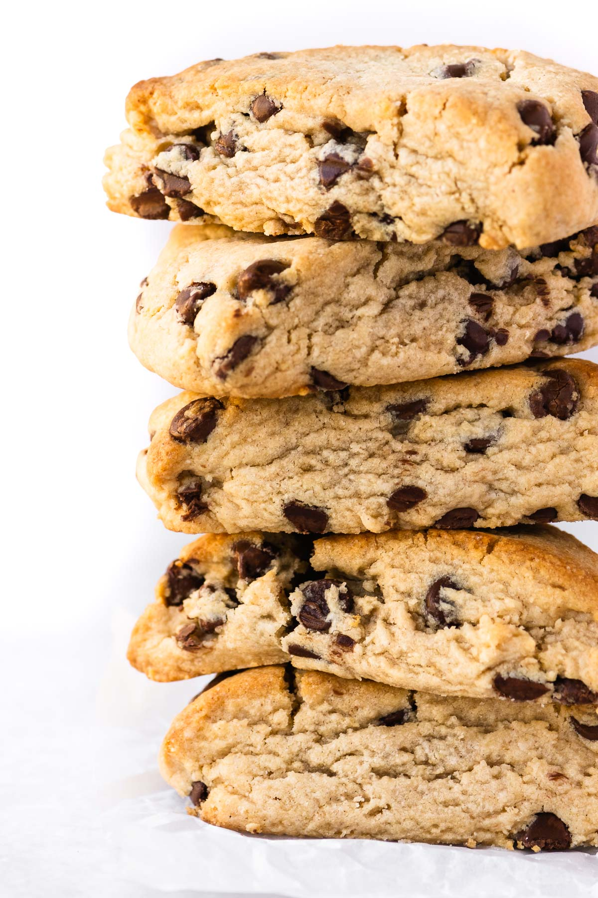 a stack of peanut butter chocolate chip scones