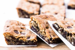 Toasted pecan and dark chocolate chip blondies