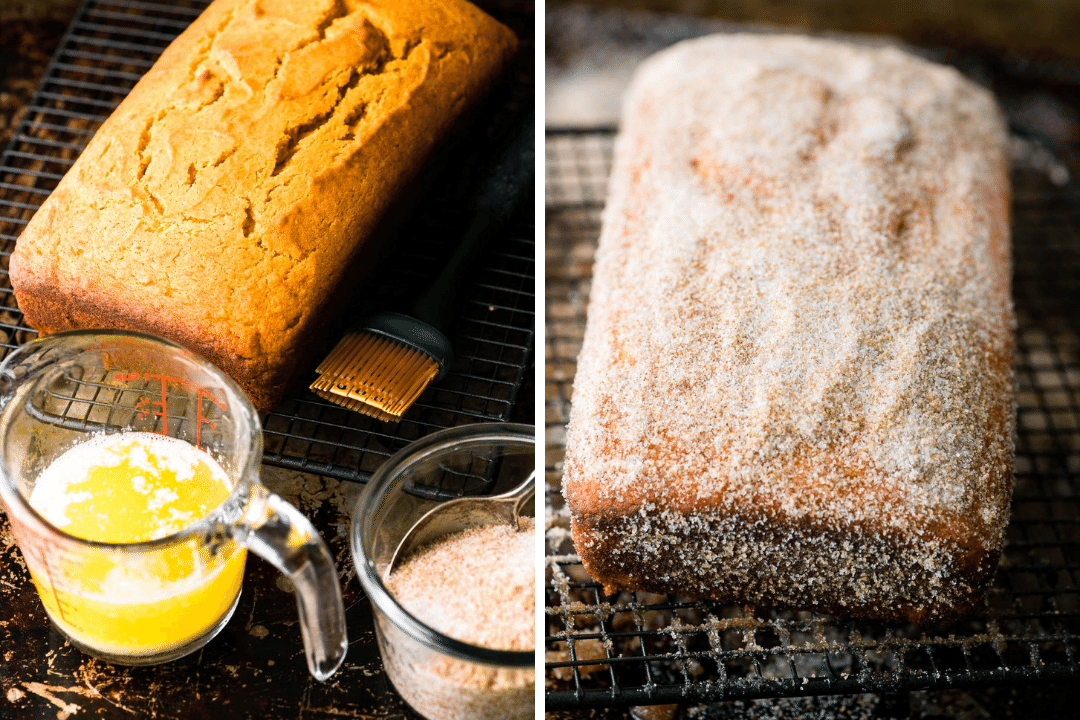 Coating a pumpkin snickerdoodle bread with butter and cinnamon sugar