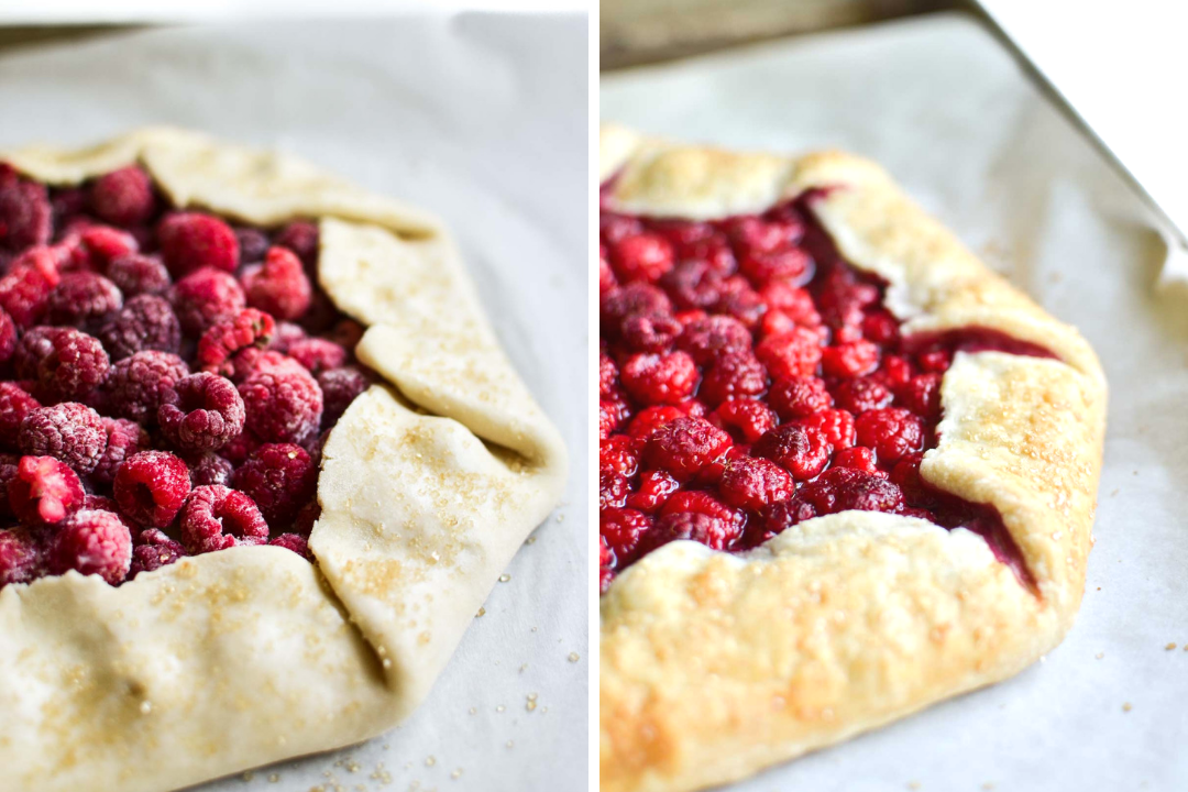 fresh raspberry galette, before and after baking