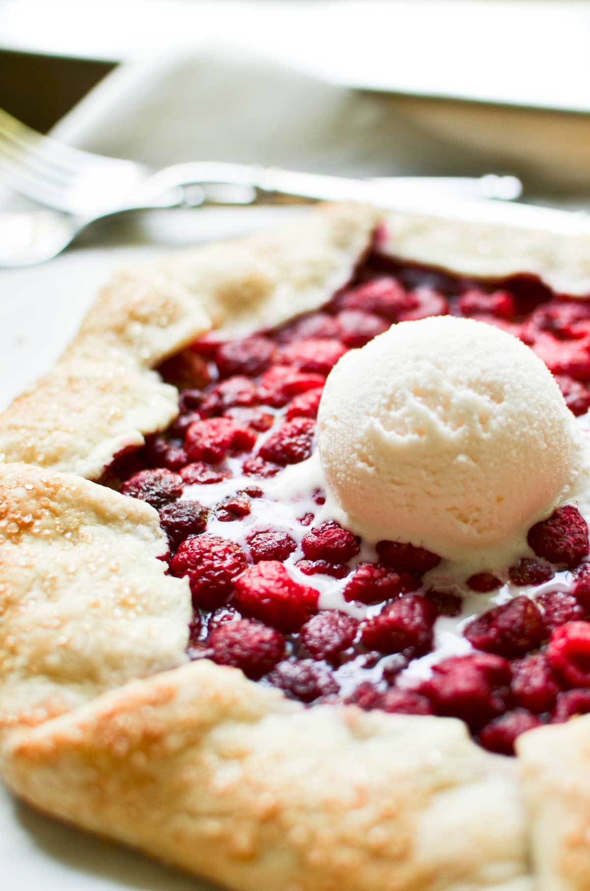 fresh raspberry galette, a la mode