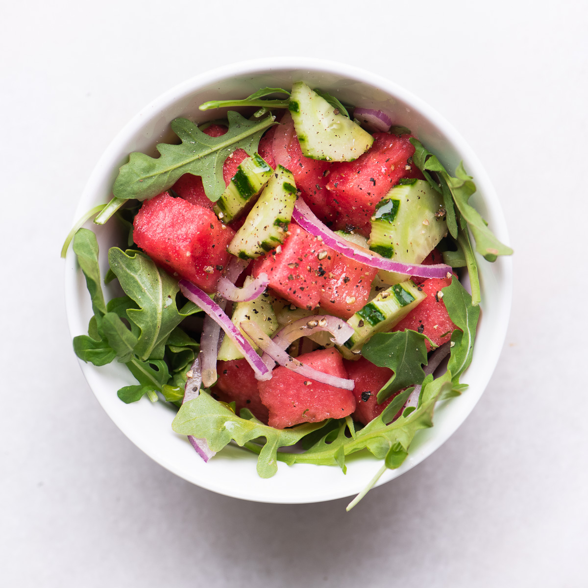 Watermelon, Cucumber and Arugula Salad