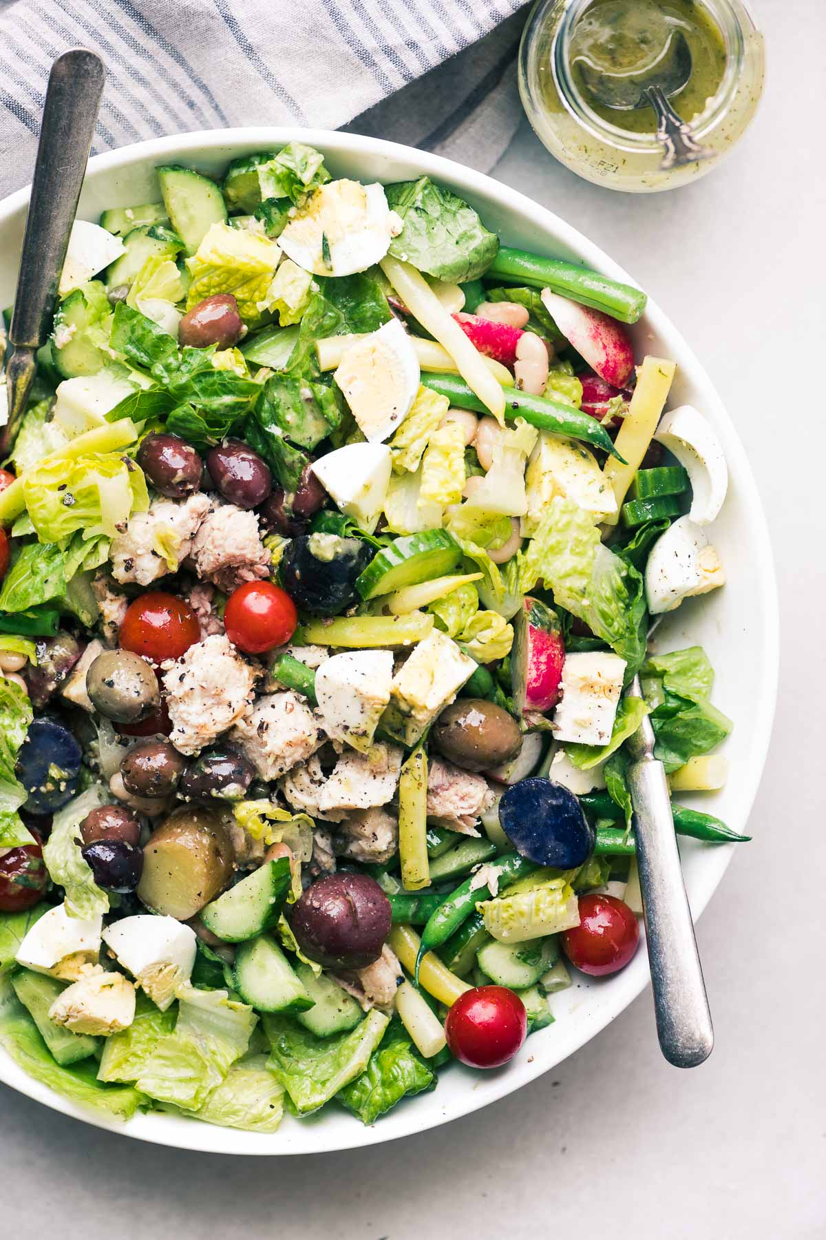 Tossed Nicoise Salad in a bowl