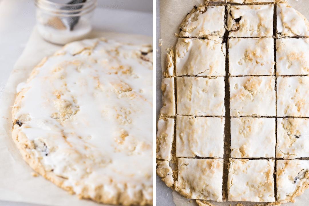 glazing and cutting blackberry slab pie bars