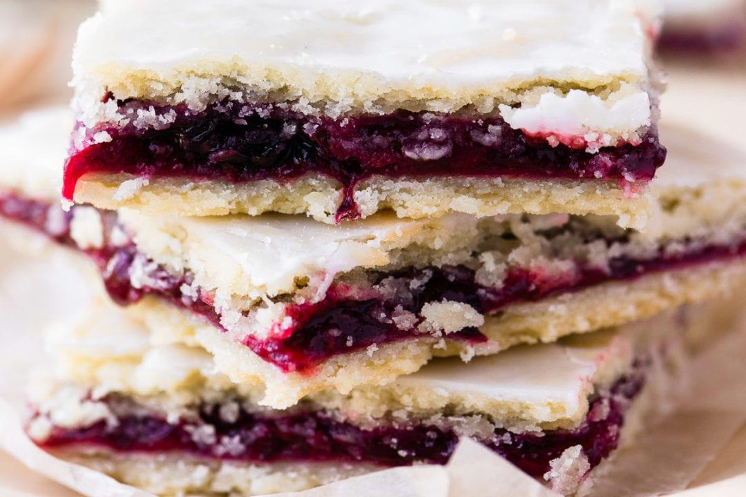 blackberry slab pie bars, stacked
