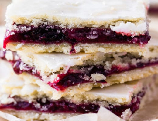 blackberry slab pie bars, stacked