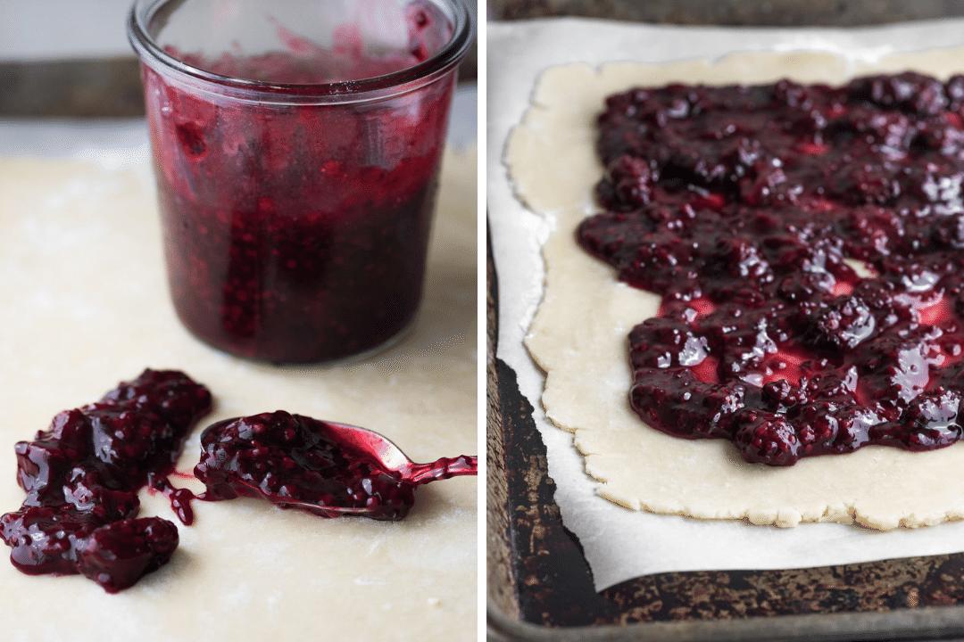 making blackberry slab pie bars