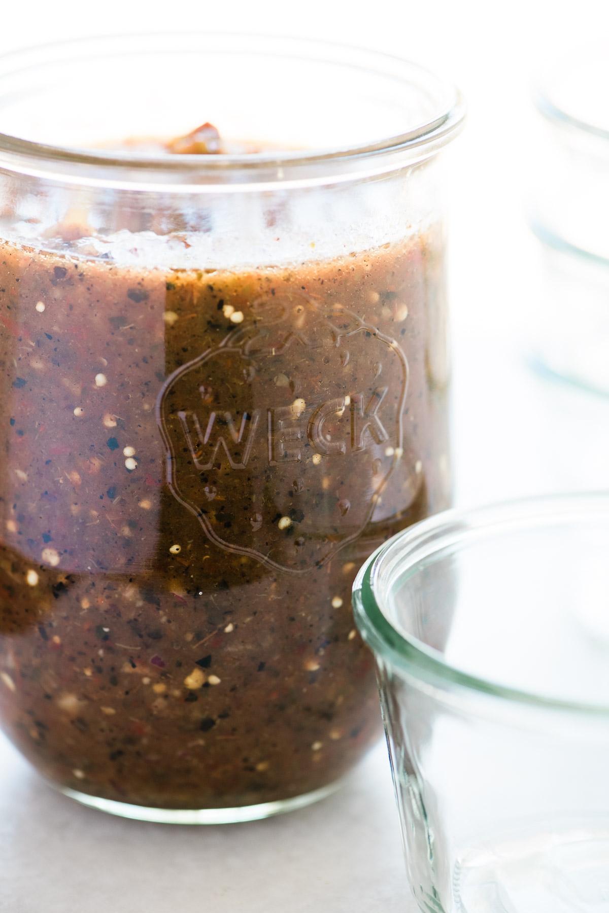 Gazpacho Negra in a large jar