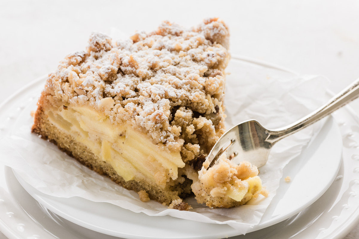 a slice of Honeycrisp Apple Cardamom Cake