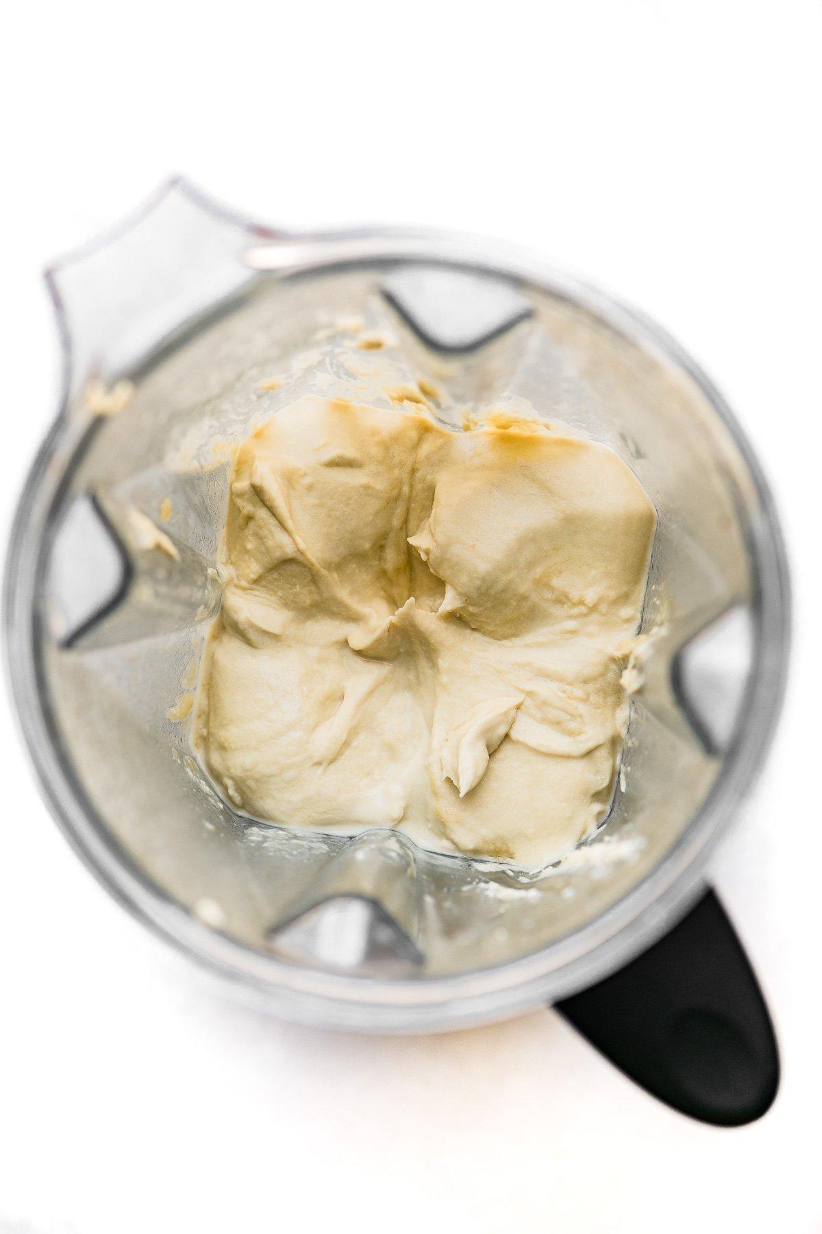 blending hummus in a Vitamix