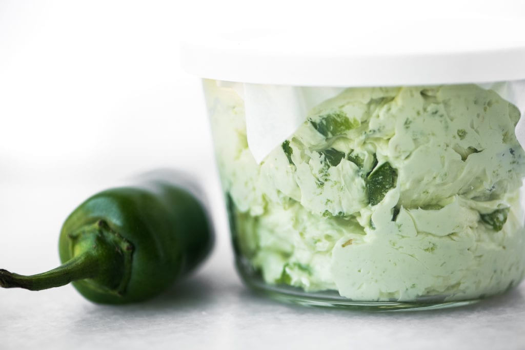 jalapeño butter in a small glass container
