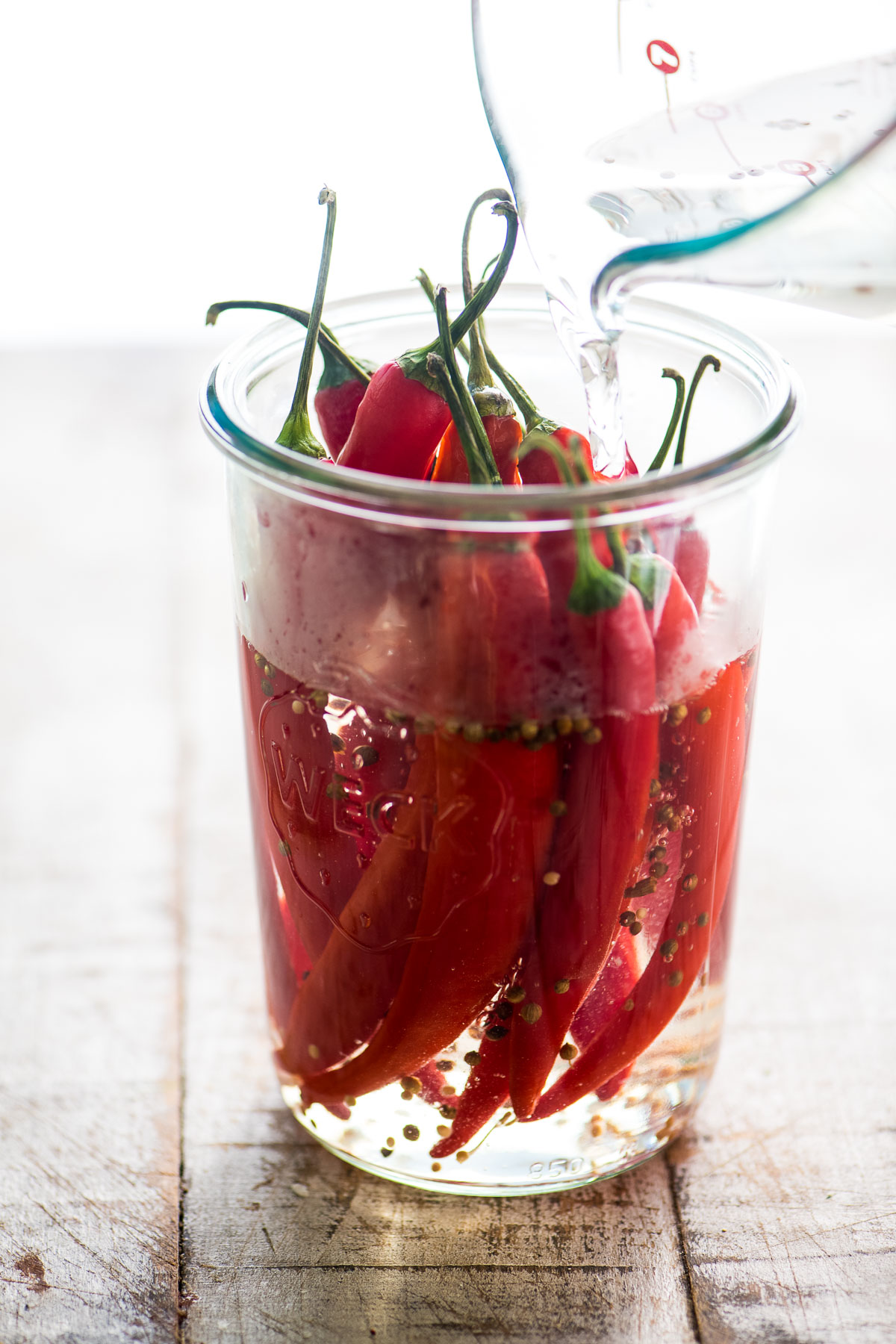 quick pickled red peppers in a jar