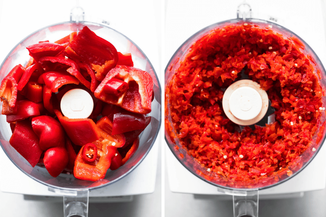 processing red peppers for hot pepper jam