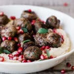 spiced lamb meatballs with hummus