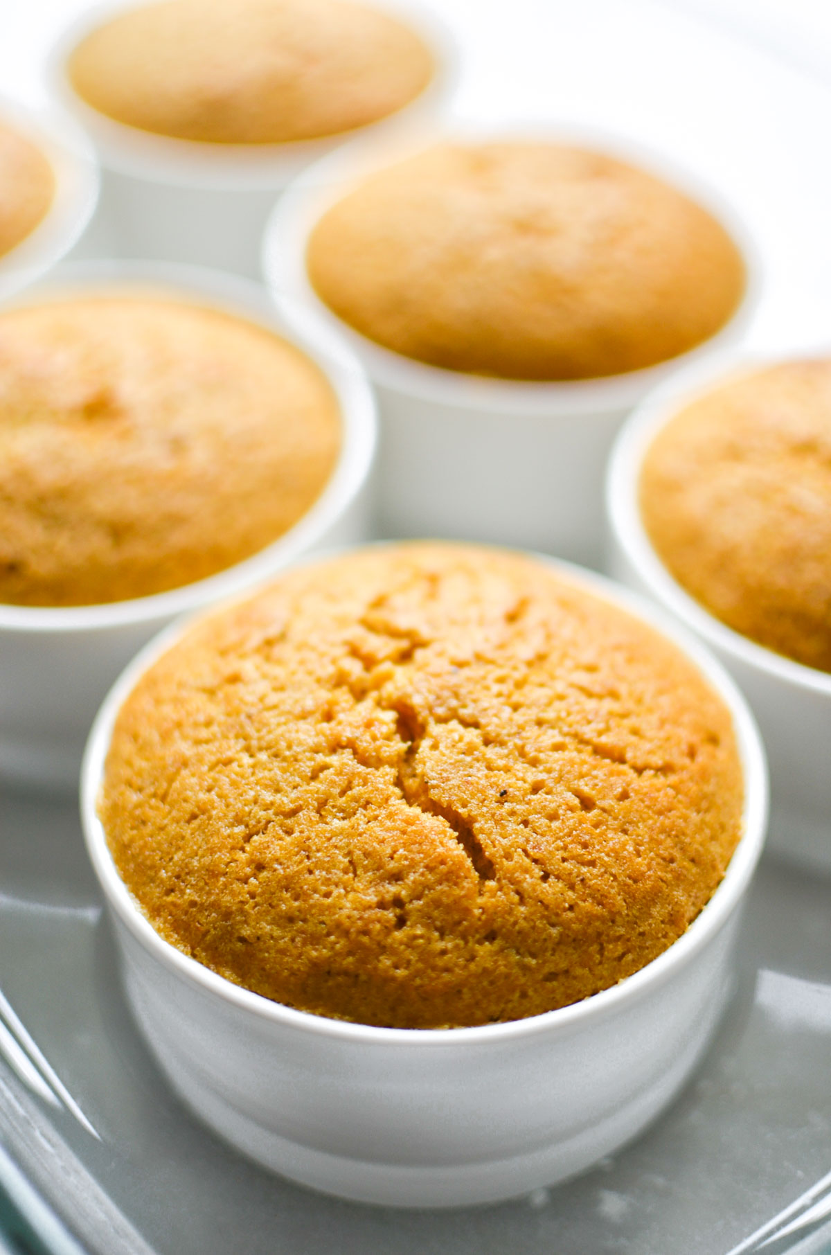 warm pumpkin pudding cakes just out of the oven